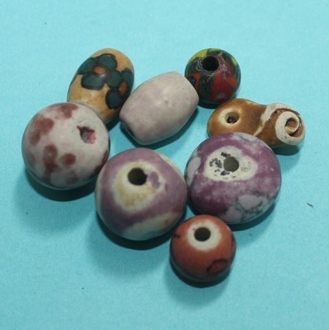 50 Pcs Ceramic Beads Assorted 11x13 mm