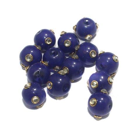 Glass Kundan Beads Round 12mm Blue