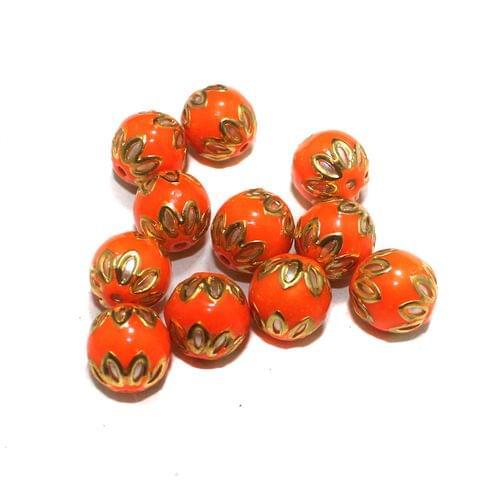 Glass Meenakari Beads Round 14mm Orange