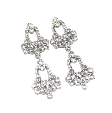5 Pairs Silver Earring Components 28x19mm