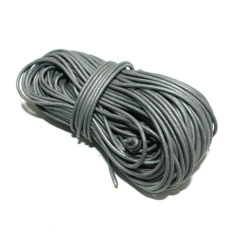 25 Mtrs. Jewellery Making Leather Cord Silver 2mm