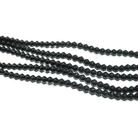 5 Strings Black Glass Bicone Beads 6x5mm