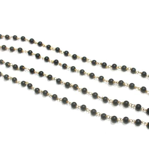 1 Mtr Glass Round Beaded Chain Black 4mm