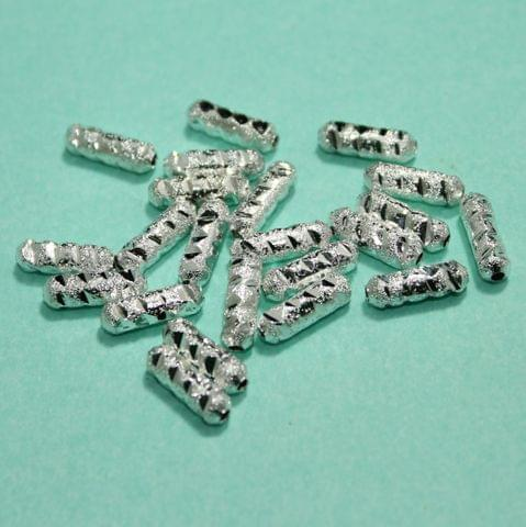 50 Gms Silver Brass Tube Beads, 11x3mm