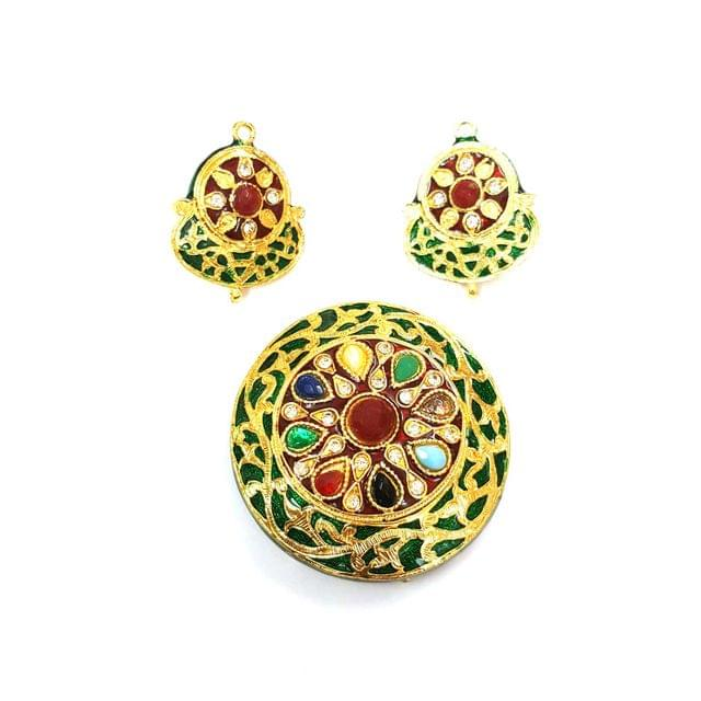 Navratana Pendant Set, Pendant - 2.25 inches, Earrings - 1.5 inches
