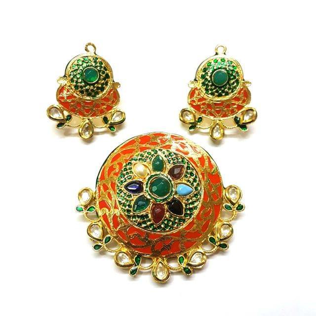 Navratana Pendant Set, Pendant - 2.5 inches, Earrings - 1.75 inches
