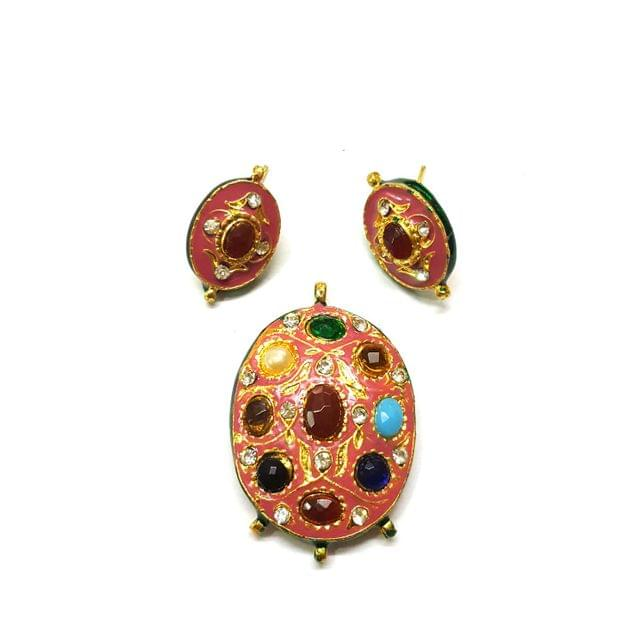 Navratana Pendant Set, Pendant - 2 inches, Earrings - 1 inch
