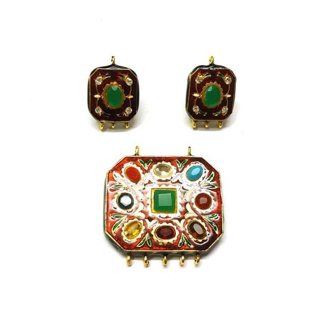 Navratana Pendant Set, Pendant - 1.75 inches, Earrings - 1 inch