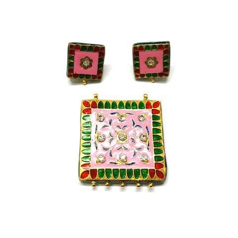 Meenakari Pendant Set, Pendant - 1.75 inches, Earrings - 0.75 inch