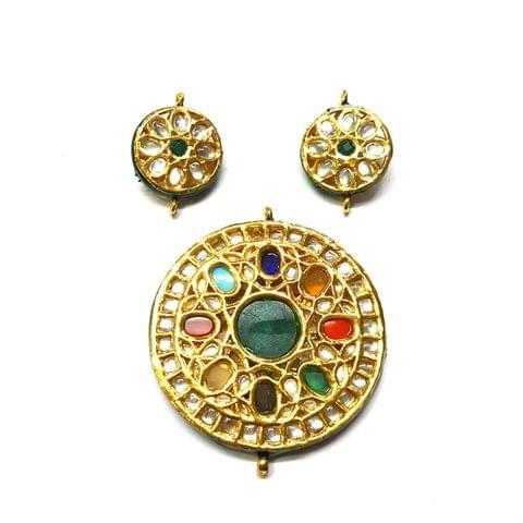 Kundan Pendant Set, Pendant - 2.5 inches, Earrings - 1.25 inches