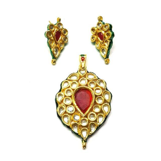 Kundan Pendant Set, Pendant - 2.75 inches, Earrings - 1.5 inches