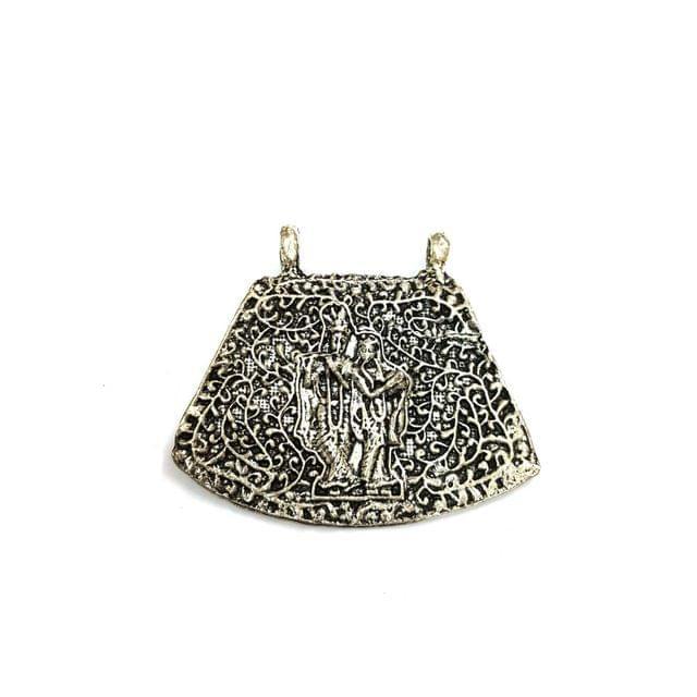 Radha Krishna Oxidised Silver Pendant, 2 inches