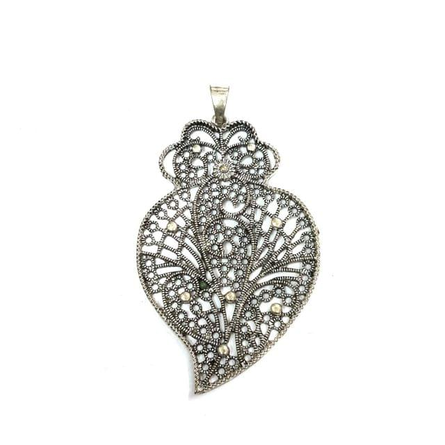 Oxidised Silver Pendant, 3.25 inches