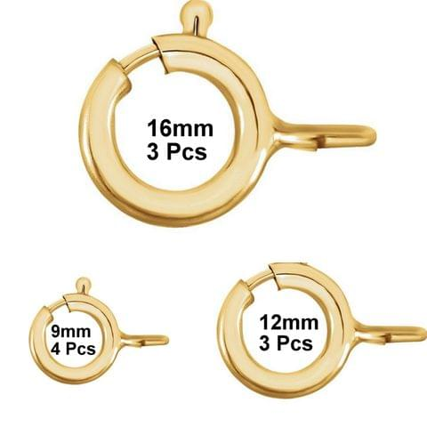 Korean Golden Brass Spring Ring Clasps 10 Pcs Combo (16,12,9mm)