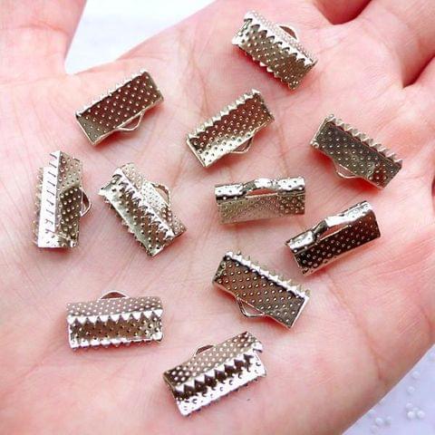 20 Pcs Silver Crimp Ends 13mm
