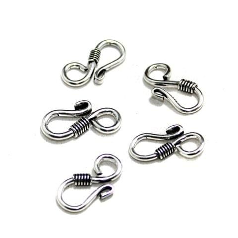 25 Pcs German Silver S Hooks Silver 21x9mm