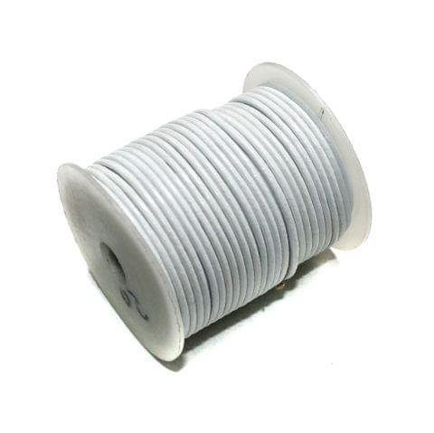25 Mtrs Jewellery Making Leather Cord White 2mm