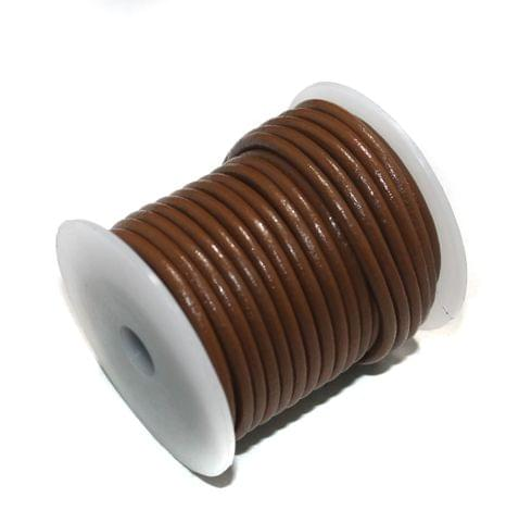 10 Mtrs Jewellery Making Leather Cord Brown 3mm
