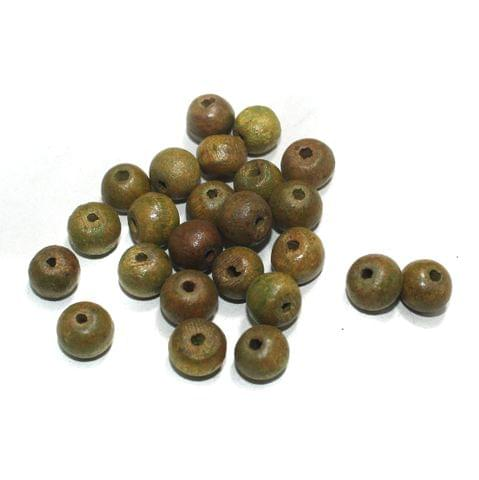 100 Pcs Round Vintage Wooden Beads, Size 12mm