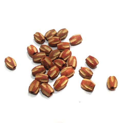 100 Pcs Oval Vintage Wooden Beads, Size 8x7mm