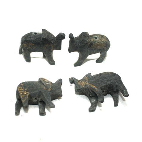 50 Pcs Elephant Antique Wooden Beads, Size 1 Inches