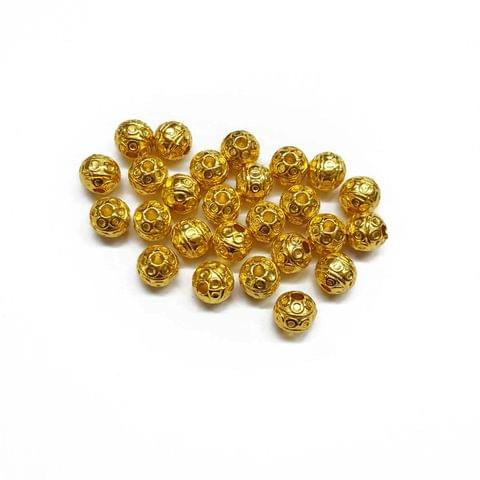 8mm, 15pcs, Designer Metal Beads