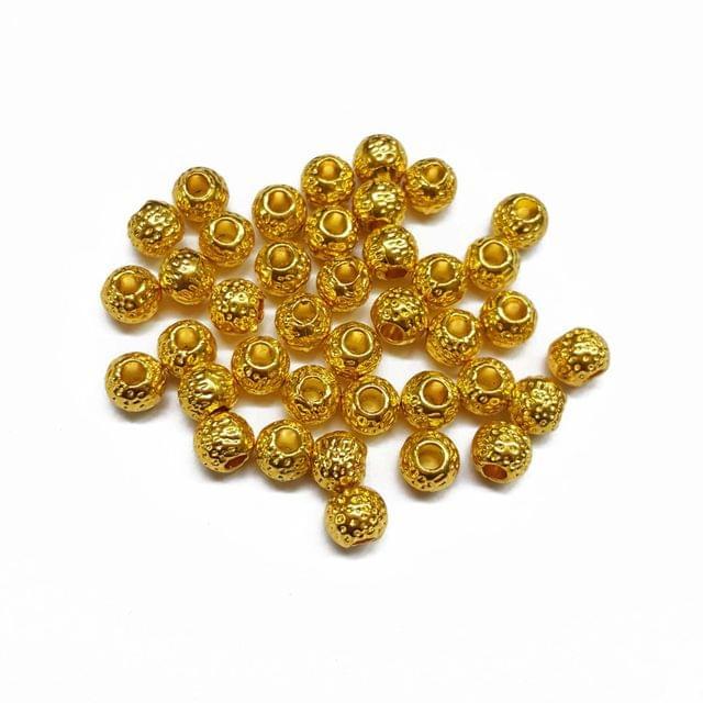 6mm, 30pcs, Designer Metal Beads