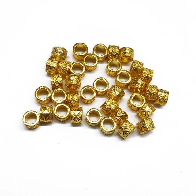 7mm, 30pcs, Designer Metal Beads