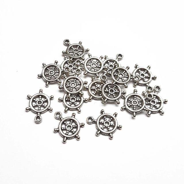 15x20mm, 20pcs, Oxidised Silver Bead Caps