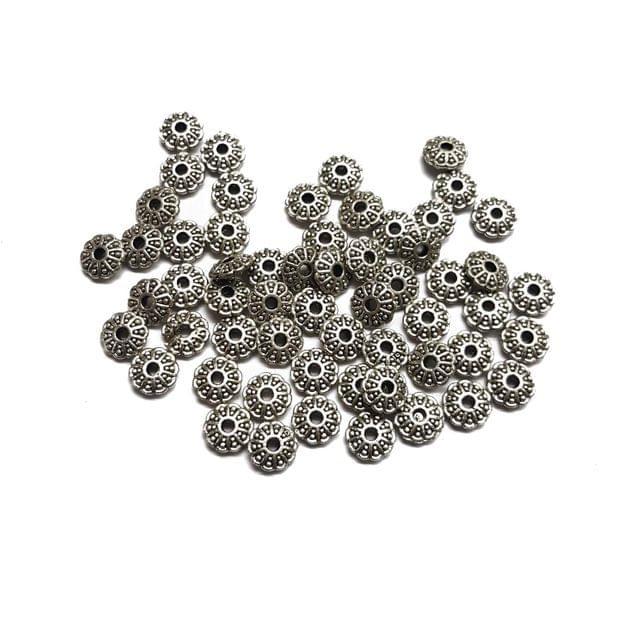 8mm, 30pcs, Oxidised Silver Bead Caps