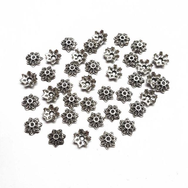 9mm, 30pcs, Oxidised Silver Bead Caps