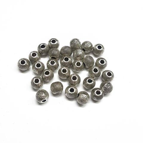 8mm, 14pcs, Oxidised Silver Beads