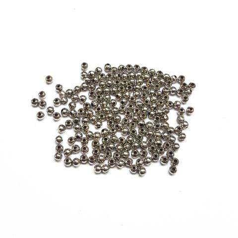 3mm, 50pcs, Oxidised Silver Beads