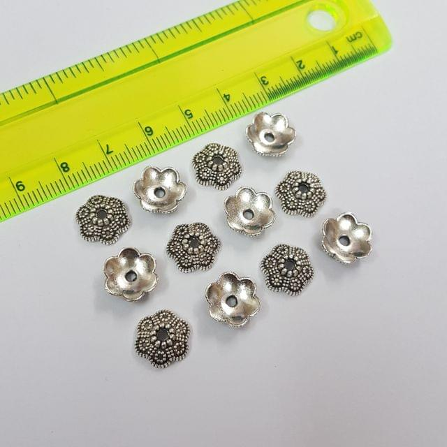 10mm, 30pcs, Oxidised Silver Bead Caps