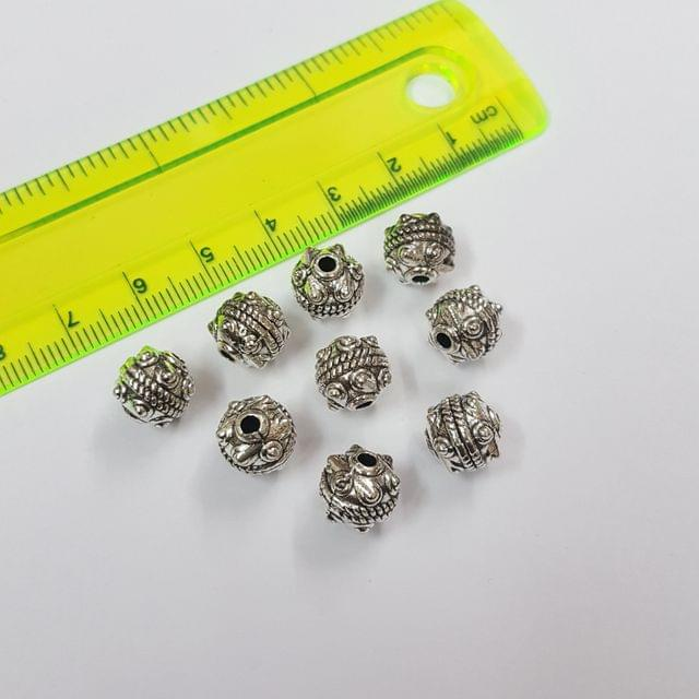 9mm, 10pcs, Oxidised Silver Beads