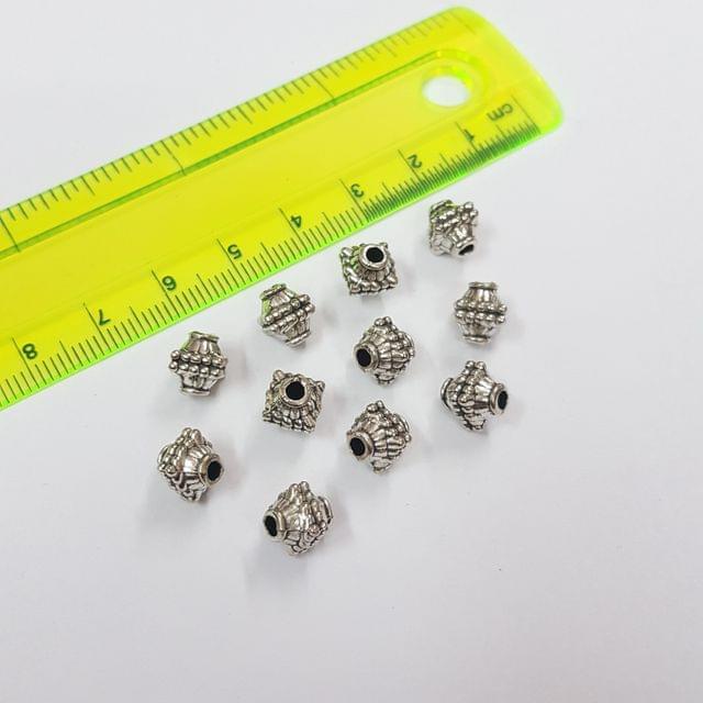 7mm, 10pcs, Oxidised Silver Beads