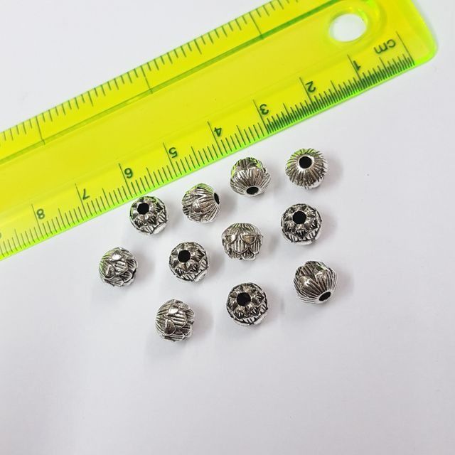 8mm, 20pcs, Oxidised Silver Beads