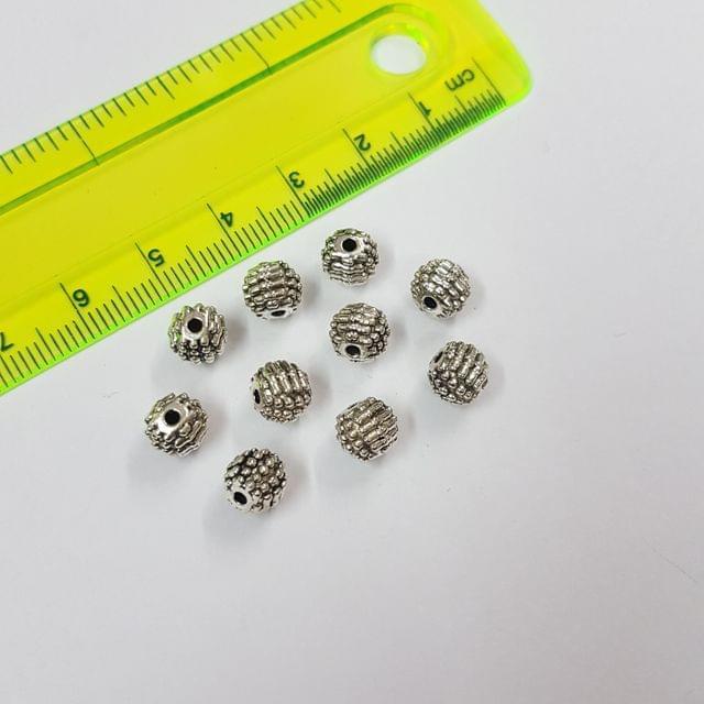 7mm, 25pcs, Oxidised Silver Beads