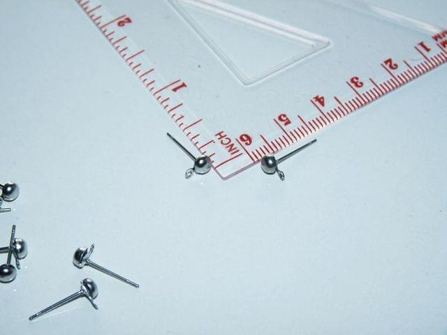 5 Pairs 3mm Half Ball With Closed Loop Earring Posts