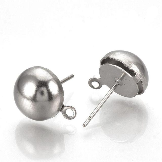 5 Pairs 10mm Half Ball With Closed Loop Earring Posts