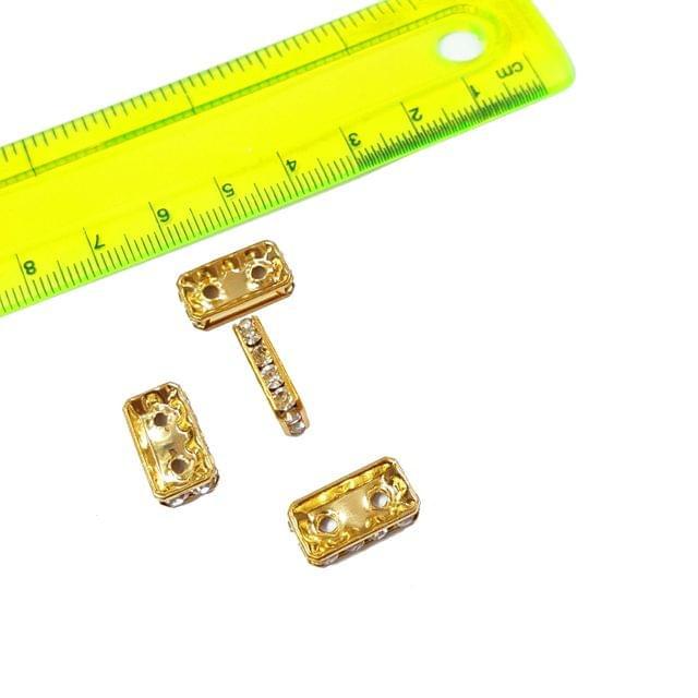 20pcs, 8x15mm AAA Quality Gold Plated Rhinestone Bead
