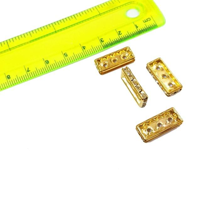 20pcs, 8x19mm AAA Quality Gold Plated Rhinestone Bead