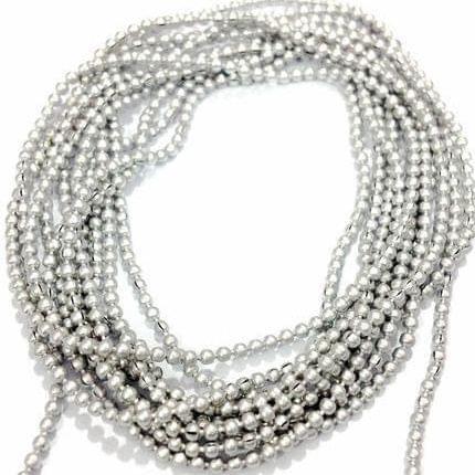 10 Mtrs Aluminium Ball Chain Silver 1.5mm