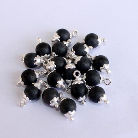 100 Pcs Black Matte Loreal Glass Beads 8mm