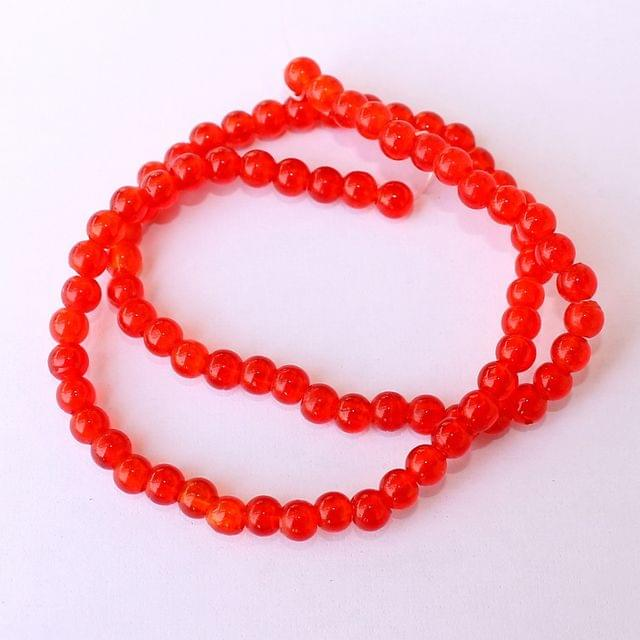 5 Strings Red Round Glass Beads 4mm