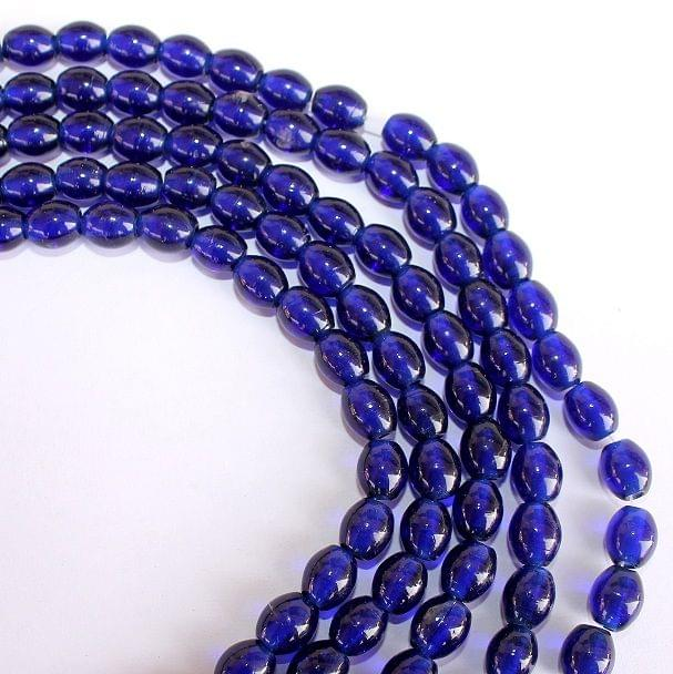 5 Strings Blue Oval Glass Beads 10x8mm