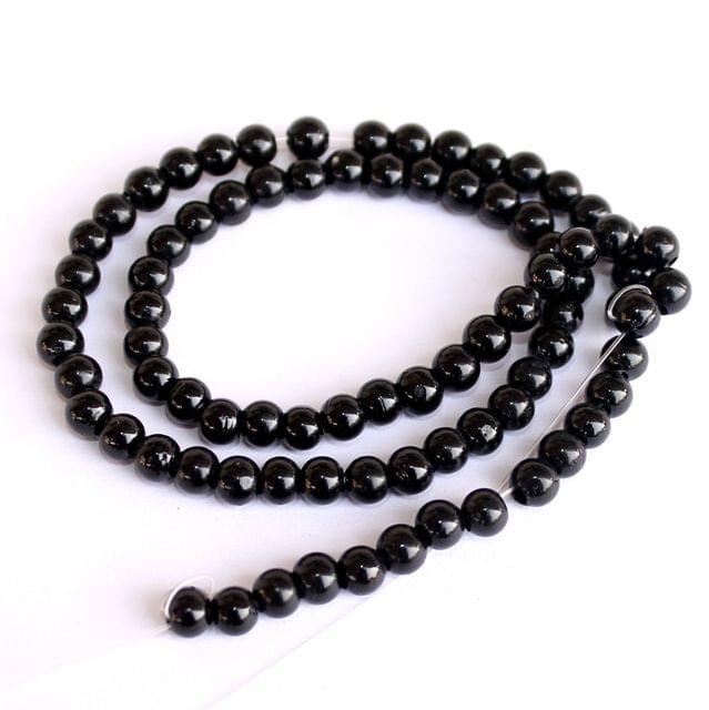 5 Strings Black Round Glass Beads 4mm