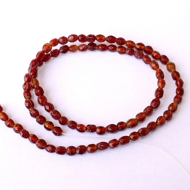 5 Strings Brown Oval Glass Beads 5x4mm