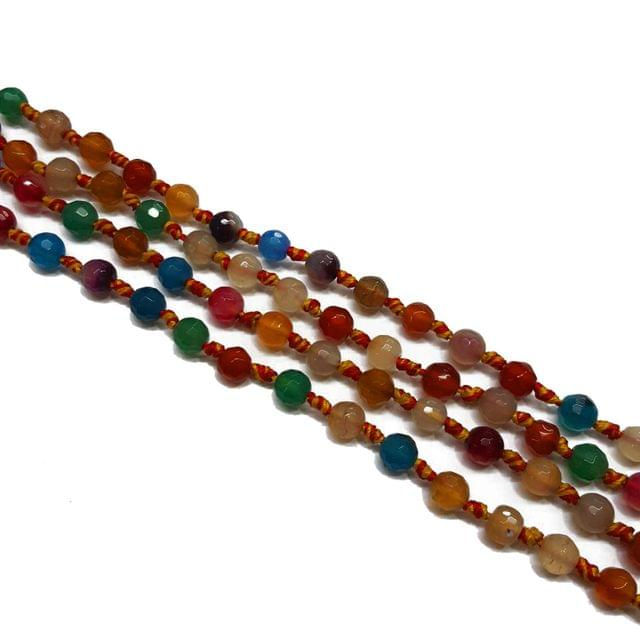 2 lines, 6mm Faceted Onyx Stone Strands, 40+ beads in each, 16 inches