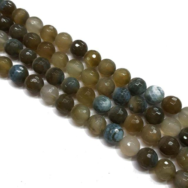 2 lines, 12mm Faceted Onyx Stone Strands, 30+ beads in each, 14 inches